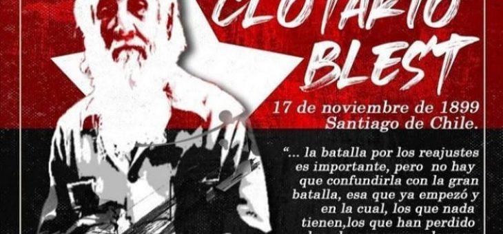 Saludamos al compañero Presidente y fundador de la CUT Clotario Blest Rifo